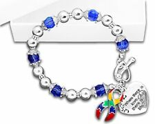 Autism Awareness Ribbon/ Where There Is Love Heart Charm Beaded Bracelet