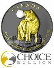 2011 Canada Canadian Wolf Coin with Ruthenium & Gold - Wildlife at Night Series