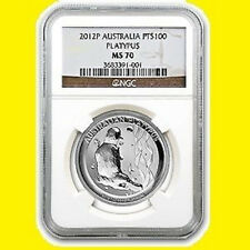 2012 AUSTRALIA 1 OZ 9995 PURE PLATINUM PLATYPUS NGC MS 70 RARE LOW POP 8