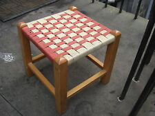 Maple? Rattan Footstool NYLON cord could use glue Well constructed intact