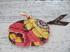 VERA BRADLEY COIN PURSE COVERED BUTTON CORAL YELLOW BROWN ZIPPER  FLORAL