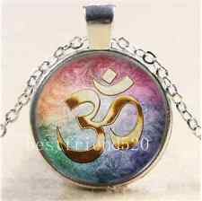 Gold Om Tarot Photo Cabochon Glass Tibet Silver Chain Pendant Necklace