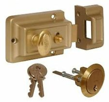 Brass Front Door Lock Nightlatch Rim Type Cylinder Standard Night Latch