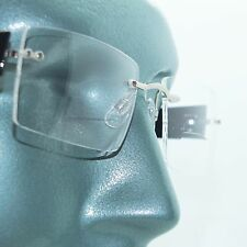 Frameless +1.00 Reading Glasses Floating Lens Tech Tortoise Arms Metal Trim