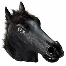 Latex Rubber Black Horse Animal Head Mask Costume Theater Prop Novelty Halloween