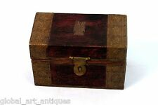 Vintage Hut Shape Wooden Jewellery Box With Brass Fittings. G43-60
