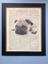 Antique Vintage Dictionary Book Page Art Pug Dog Image