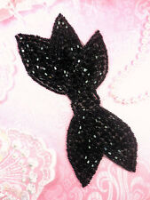"JB163 Designer Black Beaded Bow Applique DIY Hot Fix Iron On 6"" (JB163-bk)"