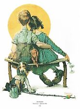 """Norman Rockwell print """"BOY AND GIRL IN LOVE"""" / """"SUNSET"""""""