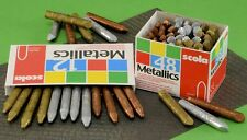 12 SCOLA METALLIC CRAYONS GOLD SILVER & BRONZE FOR BRASS RUBBING EMBOSSING CRAFT