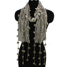 Fashion Women's Crochet Lace Floral Hollow Mesh Funky Tassel Soft Long Scarf New