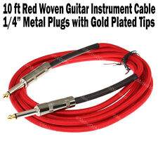 """10 ft Red Woven Guitar Instrument Cable Cord Effect Patch Gold Tip 1/4"""" Plugs"""