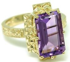 7.50ct Amethyst 9ct 375 Solid Gold Antique Style Ring - SZ N/7 - 30 Day Refund