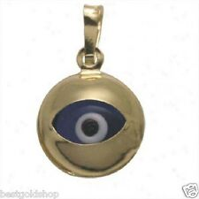 3D 9mm Round Evil Eye Good Luck Charm Pendant Real 14K Yellow Gold