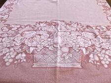 Vintage Jacquard Francais Mauve Pique Cotton Tablecloth Flower Baskets Gérardmer