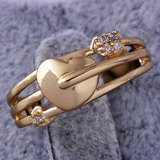Trendy girls Heart Cupid's arrow Womens Ring Yellow gold plated Size 5 mystic