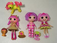 LOT OF 3 LALALOOPSY MINI DOLLS PILLOW FEATHERBED JEWEL KAT JUNGLE PETS #12 PONY