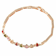 6.69'' Fashion Multicolor Topaz Bracelet Womens Real 14K Gold Filled Jewelry
