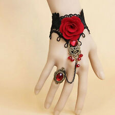 Lolita Gothic Style Women Lace Red Rose Bracelet with Adjustable Finger Ring New