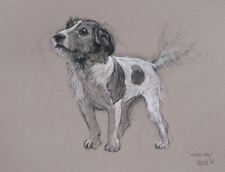 "Terrier Jack Russell dog LE mounted art print 'Waggy Tail' by H Irvine 16""x12"""