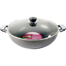 NEW LARGE 32cm DOUBLE HANDLE NON STICK WOK SHRINK WRAP DISHWASHER SAFE GLASS LID