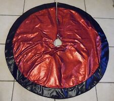 48 RED & BLACK LEATHER LOOK PADDED TREE SKIRT CHRISTMAS DECORATION
