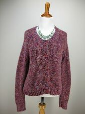 sz L 12 Womens H&M Cardigan Pink Marled Button Front Alpaca Blend Shimmery