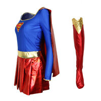New Adult Supergirl Superhero Costume Halloween Fancy Dress Party Women Outfit