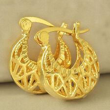 Pretty New 9K Yellow Gold Filled Diamond Basket Weave Hoop Earrings I
