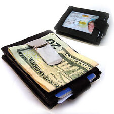 BLACK MEN's GENUINE LEATHER MONEY CLIP THIN. Credit ID Wallet Holder.