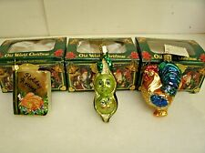 Lot of 3 OWC Old world Christmas glass Christmas Ornaments PEA, Rooster, Book