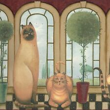 Country Cats, Potted Trees & Big Windows - Wallpaper Border B048