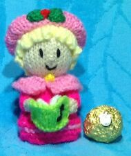KNITTING PATTERN  - Christmas Carol Singer chocolate cover fits Ferrero Rocher