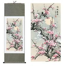 Chinese Traditional Silk Scroll Painting Plum Blossom Office Home Decoration