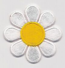 "1 7/8"" x 1 7/8"" Spring White Yellow Daisy Flower embroidery applique patch"