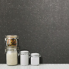 Mosaic Tile Black Glitter Wallpaper Kitchen and Bathroom Tiling on a Roll M1057