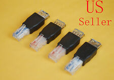 4 x USB Female to Ethernet RJ45 Cat5 Booster Router Wireless Network Adapter