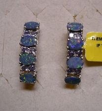 Fiery Boulder Opal & Tanzanite J-hoop Earrings 20 gemstones 3.35tcw MSRP$524.00
