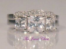 Princess cut Diamond Engagement Ring Estate Style Trilogy Bridal set White Gold