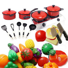 Kids Children Play Toys Kitchen Utensils Pots Pans Cooking Food Dishes Cookware