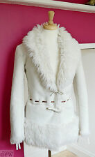 LAURA ASHLEY folk SHEEPSKIN fur coat cream JACKET hippy BOHO 1970's 10 luxury
