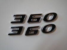 DODGE PLYMOUTH 360 ENGINE SIZE HOOD SCOOP FENDER TRUNK EMBLEMS - BLACK