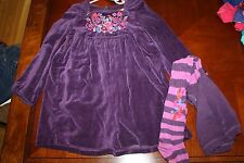 CATIMINI GORGEOUS VELVET PURPLE EMBROIDRED DRESS AND TIGHT SET 6A 6 114 HOLIDAY
