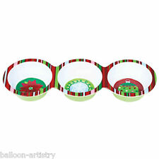 3 Section Christmas Snowflake Party Luxury Plastic Snack Dip Cocktail Dish