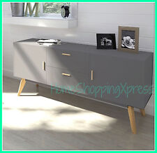 Grey Retro Sideboard Large Cabinet TV Stand Vintage Storage Wood Furniture Unit