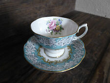ROYAL ALBERT TEA CUP AND SAUCER BLUE ENCHANTMENT PATTERN TEACUP ROSE FLORAL