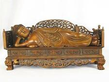 BEAUTIFUL VINTAGE CHINESE HAND CARVED WOOD STATUE OF SLEEPING BUDDHA, 2 PIECES