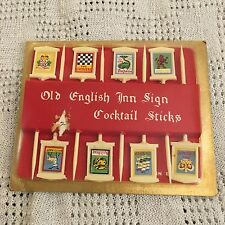 Vintage Old English Inn Sign Cocktail Sticks Plastic