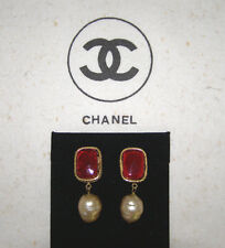 CHANEL VINT. 1980's BURGUNDY GRIPOIX+MATELASSE EARRINGS w/ DANGLE BAROQUE PEARLS