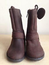 M&S Baby Girls Brown Leather Boots Size 4 Infant (Eu 20.5) Brand New
